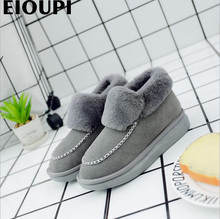 Eioupi теплые зимние ботинки из натуральной яловой кожи Женские повседневные Модные швейных ниток ботильоны на плоской подошве ботинки ohz5806