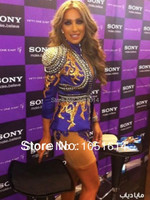 Long Sleeve Full Golden Beaded Crystals Appliques Sheath Above Knee Length Kim Kardashian Luxury Heavy Beaded Celebrity Dress