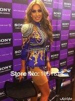Long Sleeve Full Golden Beaded Crystals Appliques Sheath Above Knee Length Kim Kardashian Celebrity Dress