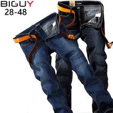 Plus Size 40 42 44 46 48 Men Jeans Male Straight Fit Mens Denim Pants 2016 Fashion Slim Blue Black Elastic Jeans For Men nzk34