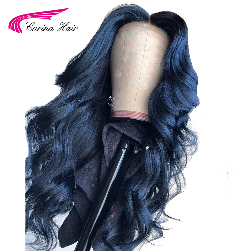 Carina Dark Blue 13 6 Lace Front Wigs Glueless Brazilian Wavy Remy Hair Lace Front Human