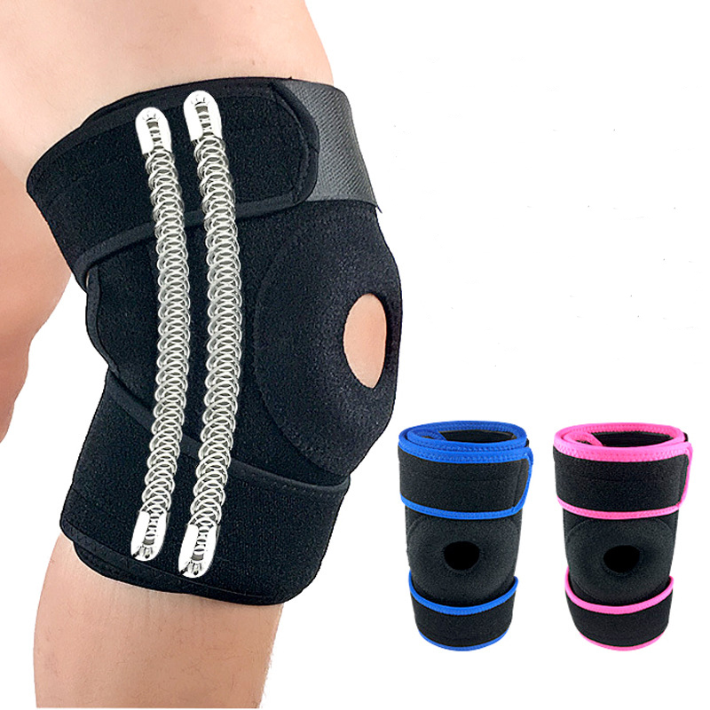 Adjustable Elastic Knee Support Brace Hole With Spring Sports Safety Guard Strap For Running