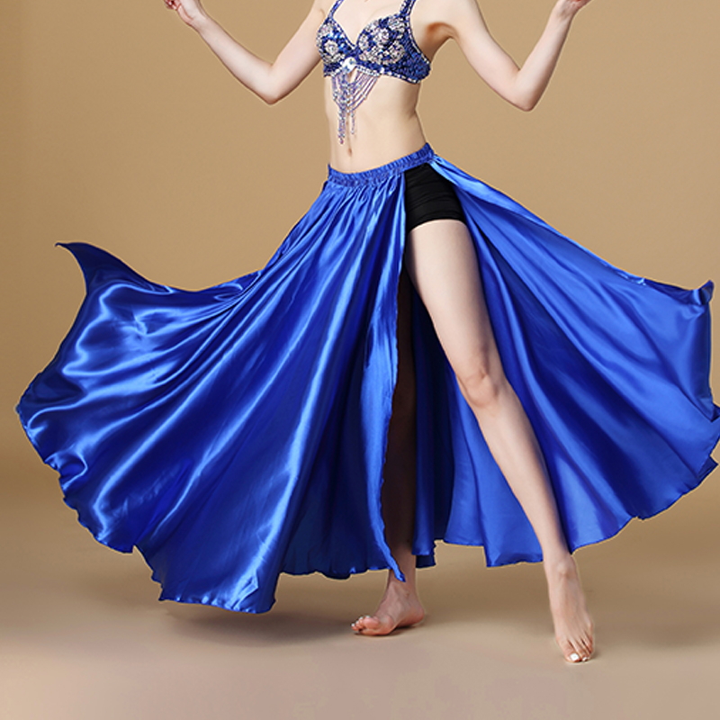 2019 Performance Belly Dance Costume Saint Skirt 2-sides Slits Skirt Sexy Women Oriental Belly Dance Skirt Female Dance Clothes