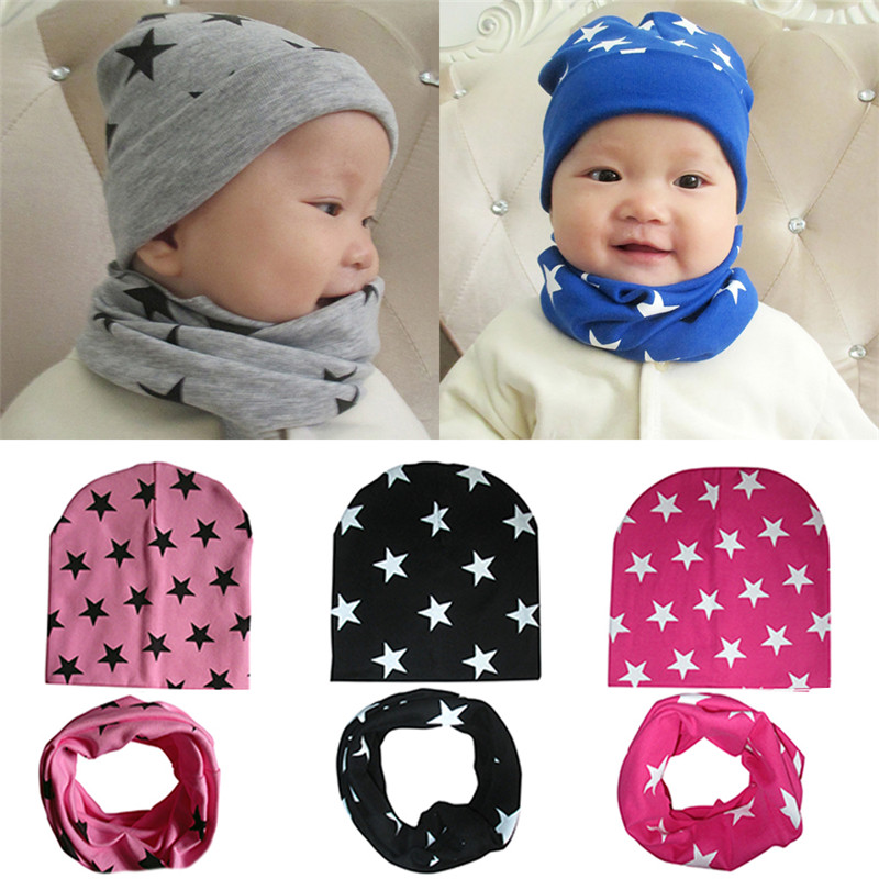 2 Piece/ Set Hat Scarf Baby Winter Cap Stars Pattern Beanie cap Warm Hats for Children Neck Warmer Photography Props