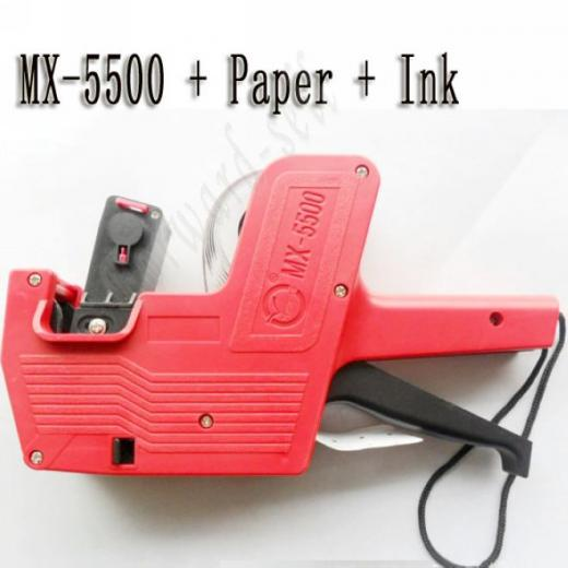 [ Fly Eagle ] Red 8 digital MX 5500 Price Tag Gun Label Labeller Stickers with 2x ink Roller