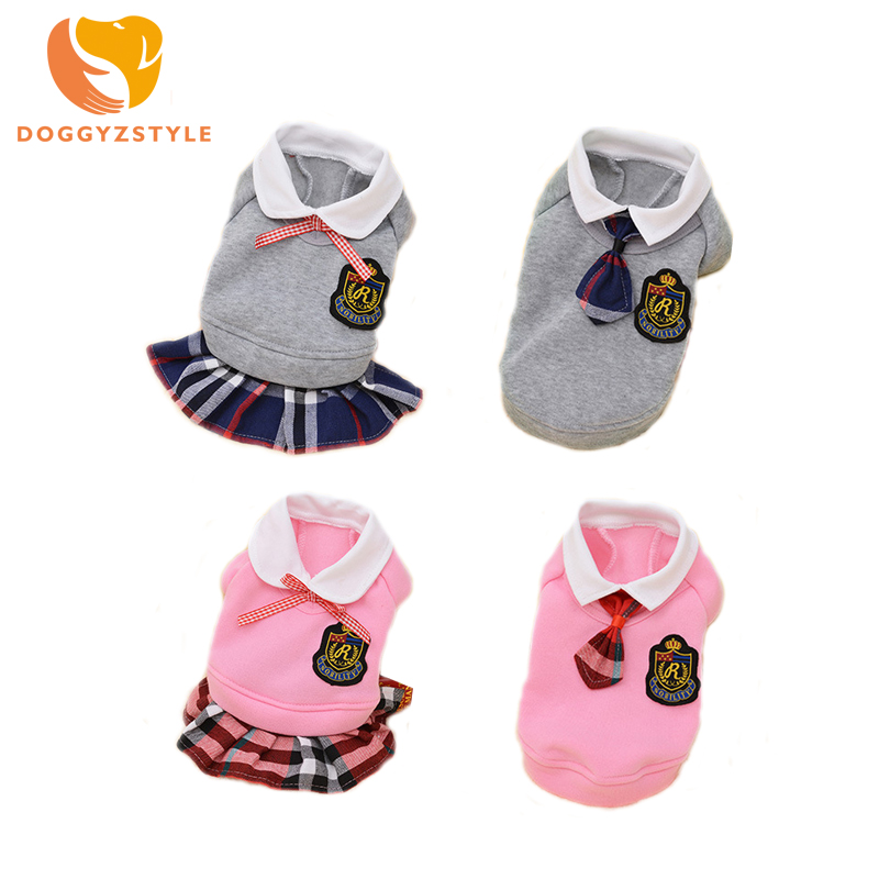 Dog Clothes Plaid British Style Pets Dogs Clothing Couple