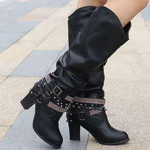 Mid Calf Boots Ladies Spring/Autumn Plus Size 43 Spike Heels Slip On Massage Casual Shoes For Women Super Star Botas Mujer цена 2017