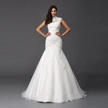 High Neck Vintage Mermaid Wedding Dresses Cap Sleeves Wedding Gowns Robe de Mariage Vestido de Novia