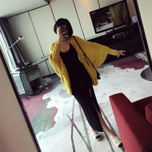 Women Autumn Coarse Acupuncture Anesthesia Flower Woven Loose Open Fork Bat Sleeve Cardigan Sweater Clothing Yellow Wool