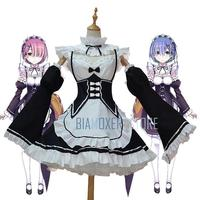 Biamoxer Re Zero Ram Rem Cosplay Dress Costumes Wigs Maid Servant Suits Halloween Costume Re Life