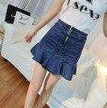 Calças de brim Mini Saia 2016 Denim Vintage Flounce Magro Pacote Hip Saia Jeans Saias Femininas Corpo Cauda A-linha Denim Saias Das Mulheres