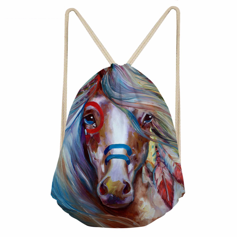 ThiKin Horse Painting Print Women Men Drawstring Bag Basketball String Backpack Teenager Girl Boy Casual Storage