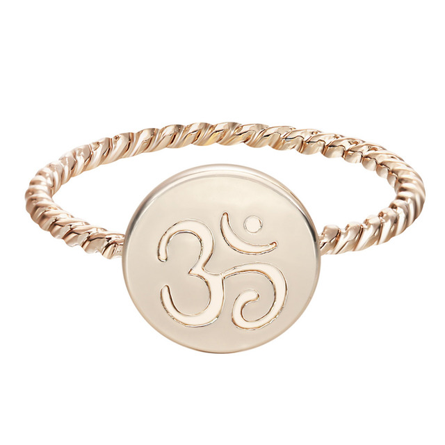 Kinitial 10pcs Gold Silver Om Religious Symbol Rings 3 Om Yoga Ring