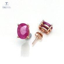 TBJ, натуральный 3ct Рубин ov6* 8 мм драгоценный камень простой и классический дизайн серьги из стерлингового серебра 925 пробы ювелирные изделия для девочек и леди с коробкой