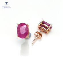 TBJ,natural 3ct ruby ov6*8mm  gemstone simple & classic design earring in 925 sterling silver jewelry for girls & lady with  box tbj natural ruby gemstone simple