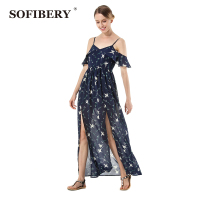 SOFIBERY Sexy Women's Bohemian dresses Fall 2018 Women's Fall Fashion Designer Printed sexy sling dress S666