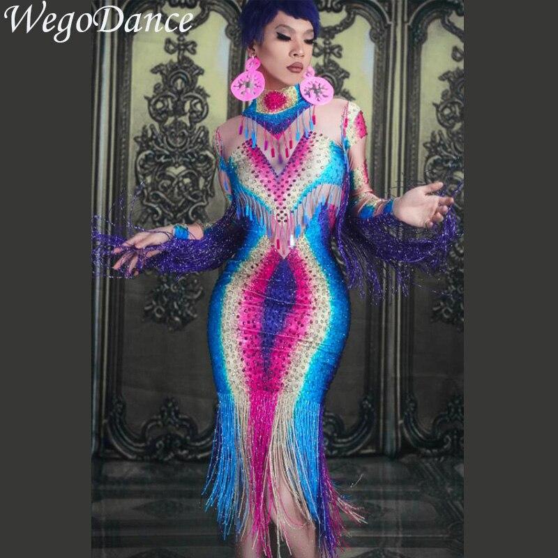 Colorful Rhinestones Fringes Perspective Dress Evening Celebrate Spandex Dresses Tassel Costume Dance Dress