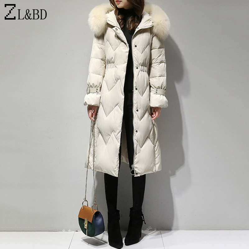 ZL&BD doudoune femme Winter Jacket Women Real Fox Fur Collar Thick Long Down Jacket Hood Feather Duck Down Coat Overcoat ZA1033