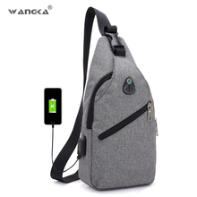 Canvas Shoulder Bag With USB Charging