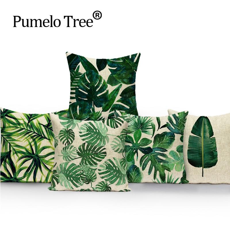2018 senaste linne kuddväska palmier utskrift Kuddeöverdrag tropisk mode soffa dekoration Cojin 18 kasta kuddeöverdrag 45 * 45