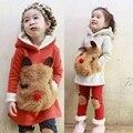 Зимний стиль Девушки свитер дети костюмы Толстовка с Длинным рукавом kids fashion Теплые дети брючные костюмы для 2-9 старых Толстовки и кофты