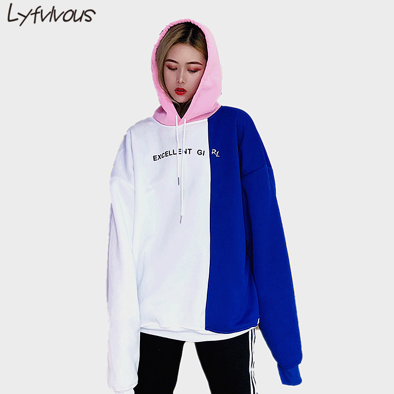 Autumn Winter NEW Fashion Chic patchwork Hooded Casual Top Thick Warm Streetwear Loose Plus Size Hoodies personality Sweatshirts