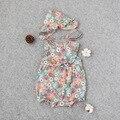Ropa de bebé de Verano Floral Sin Mangas de Algodón Oneck Completo Recién Nacido Mamelucos Del Bebé Bebé de La Manera para Las Muchachas + Sombrero Del Bebé Del Mameluco