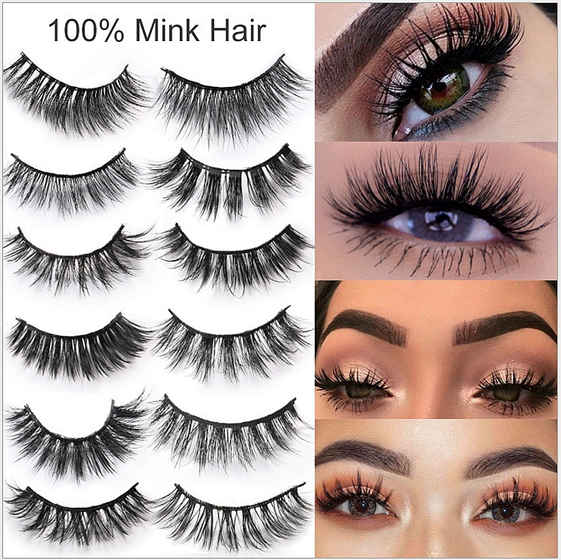 CLOTHOBEAUTY Mink Eyelashes 3d Mink Hair Lashes Volume Natural Long Thick Wispy Handmade 1Pair Eyelashes Extension for Makeup 3D-in False Eyelashes from Beauty & Health
