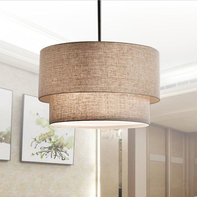 Modern Flax Fabric Lampshade LED Pendant Lamp,Dia 40/50/60CM Led Hanging Lights for Foyer Finning room Hotel Lighting FixtureModern Flax Fabric Lampshade LED Pendant Lamp,Dia 40/50/60CM Led Hanging Lights for Foyer Finning room Hotel Lighting Fixture