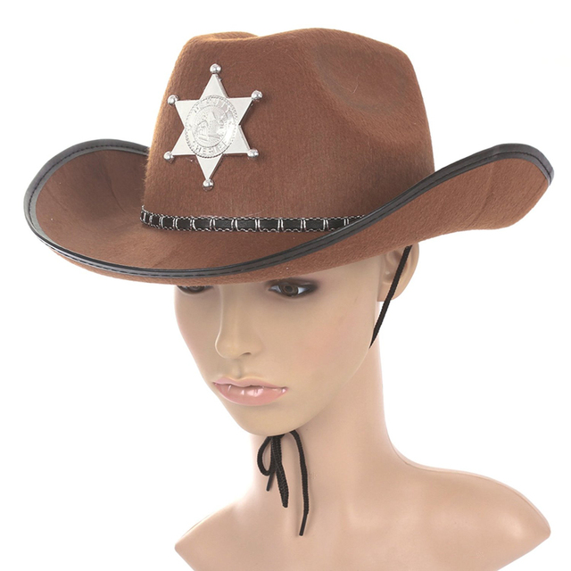 0a051bfecb3 Cowboy Western Wild West Sheriff Hat Fancy Dress Halloween Party Costume-in Cowboy  Hats from Apparel Accessories on Aliexpress.com