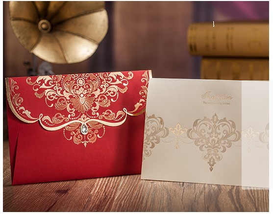 Gold Flower Wedding Invitations With Diamond 2015 Fall Red Chinese Style  Invites Card+Inner Page+Envelope Free Printing In Cards U0026 Invitations From  Home ...