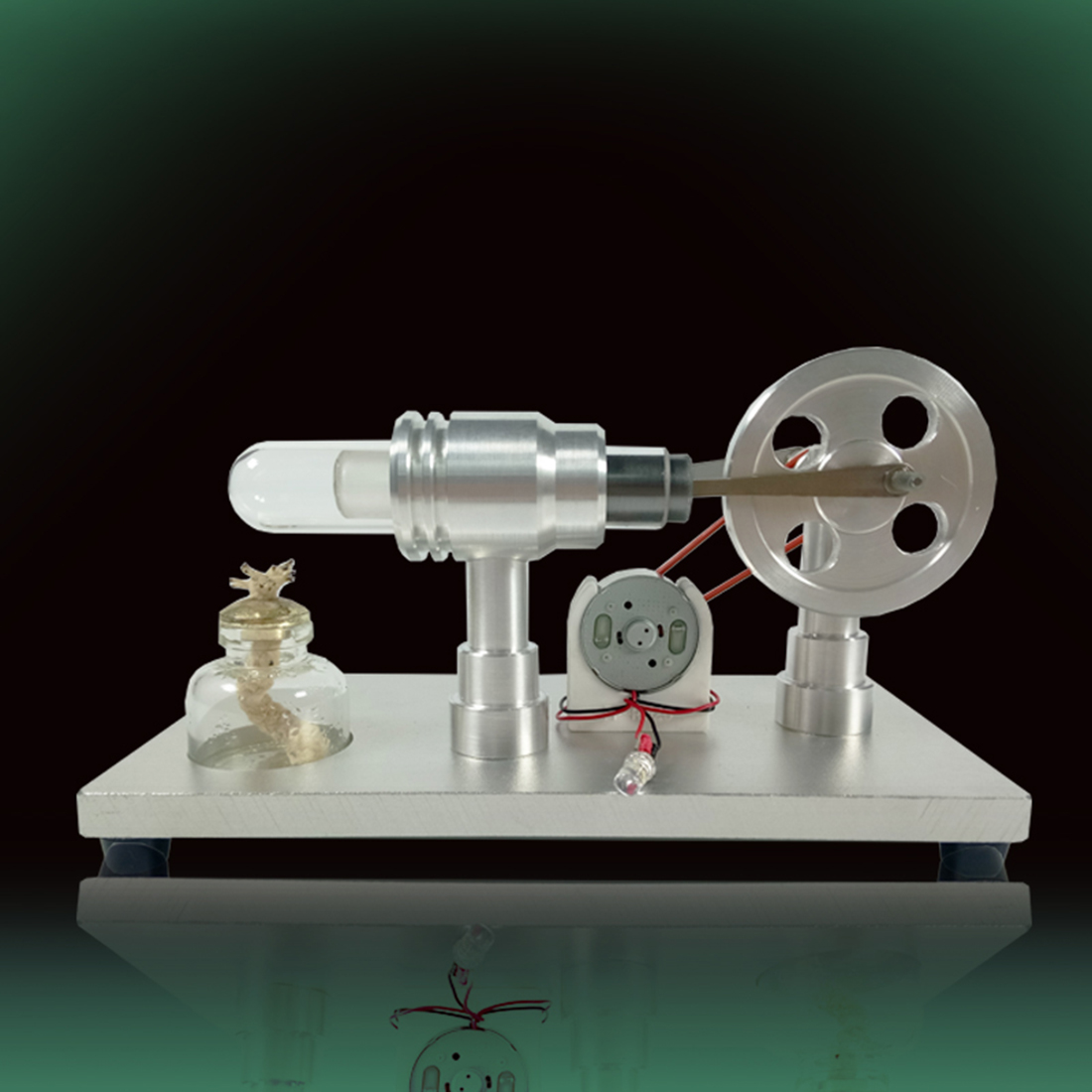 Metal Baseboard Double-cylinder Micro DIY Stirling Engine External Combustion Engine metal cylinder bootable stirling engine model micro external combustion engine model peacock blue baseboard toys for kids