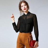 100% шелк Для женщин Летняя блузка