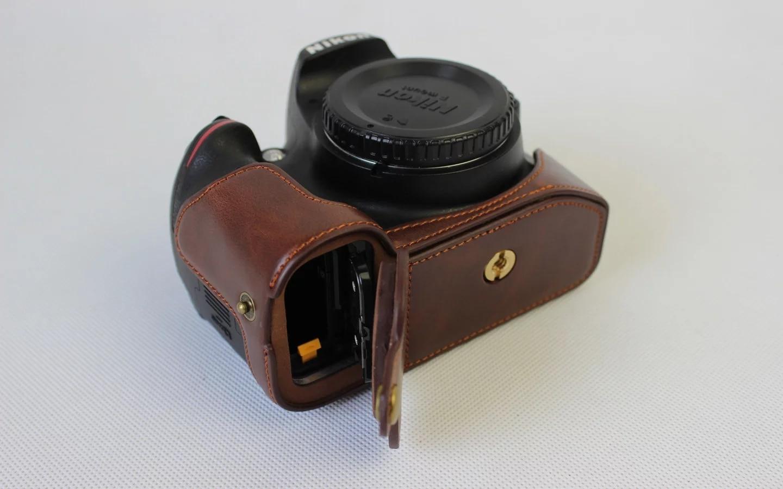 Multicolor Portable Pu Leather Digital Camera Case For Nikon D5100 Strap Tali Kamera Dslr Mirorrless Hitam Kulit Kasus Bawah Penutup Setengah Tubuh Set Tas Untuk D3200 D3100 D3300 Kopi