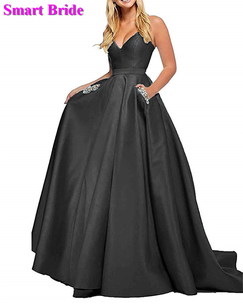 High Low   Prom     Dresses   Long A Line Satin Evening Gowns For Women 2019 With Pockets Lace Up Back PD79