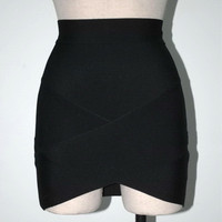 Sales Promotion Ladies High Quality Rayon BlackThick Pencil Bandage Skirt Cute Mini Skirt