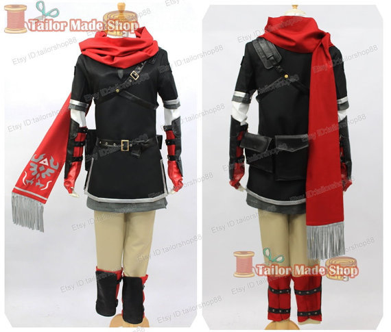 New Arrive The Legend of Zelda Zelda Link Cosplay Costume with red Muffler