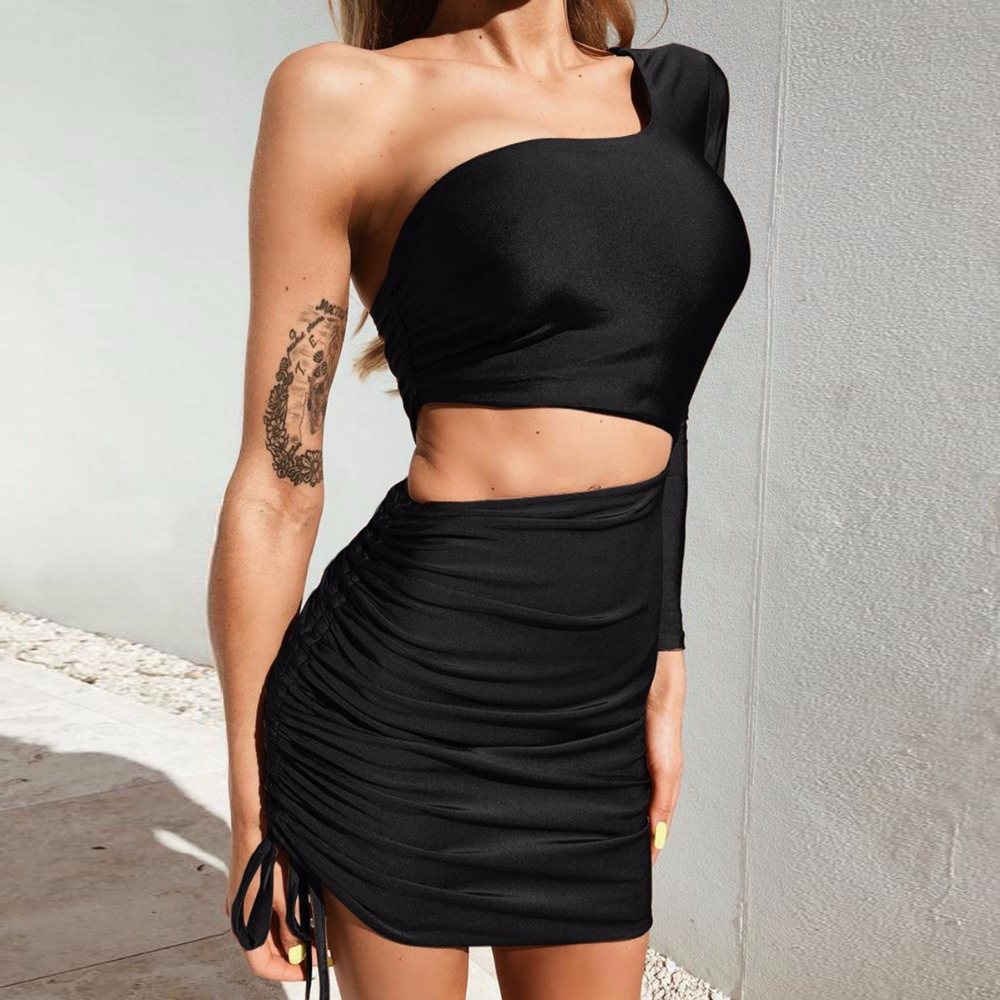 2019 summer one shoulder slope long sleeve high waist sexy bodycon Strapless dresses women fashion party mini Hollow Out dress in Dresses from Women 39 s Clothing