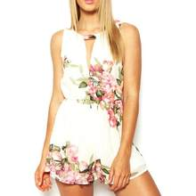 New FashionBodysuit New High Quality Chiffon Summer Floral Print Sleeveless Backless Casual Jumpsuit Short Pant Bodysuits Women(China)