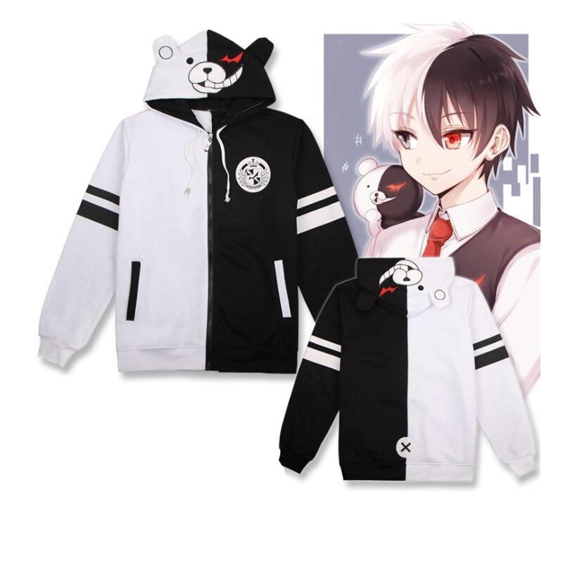 Anime Danganronpa The Animation Cosplay Costumes Monokuma Cosplay Hoodie Hoody Coat Sweatshirts Hooded Dangan ronpa Casual Coat