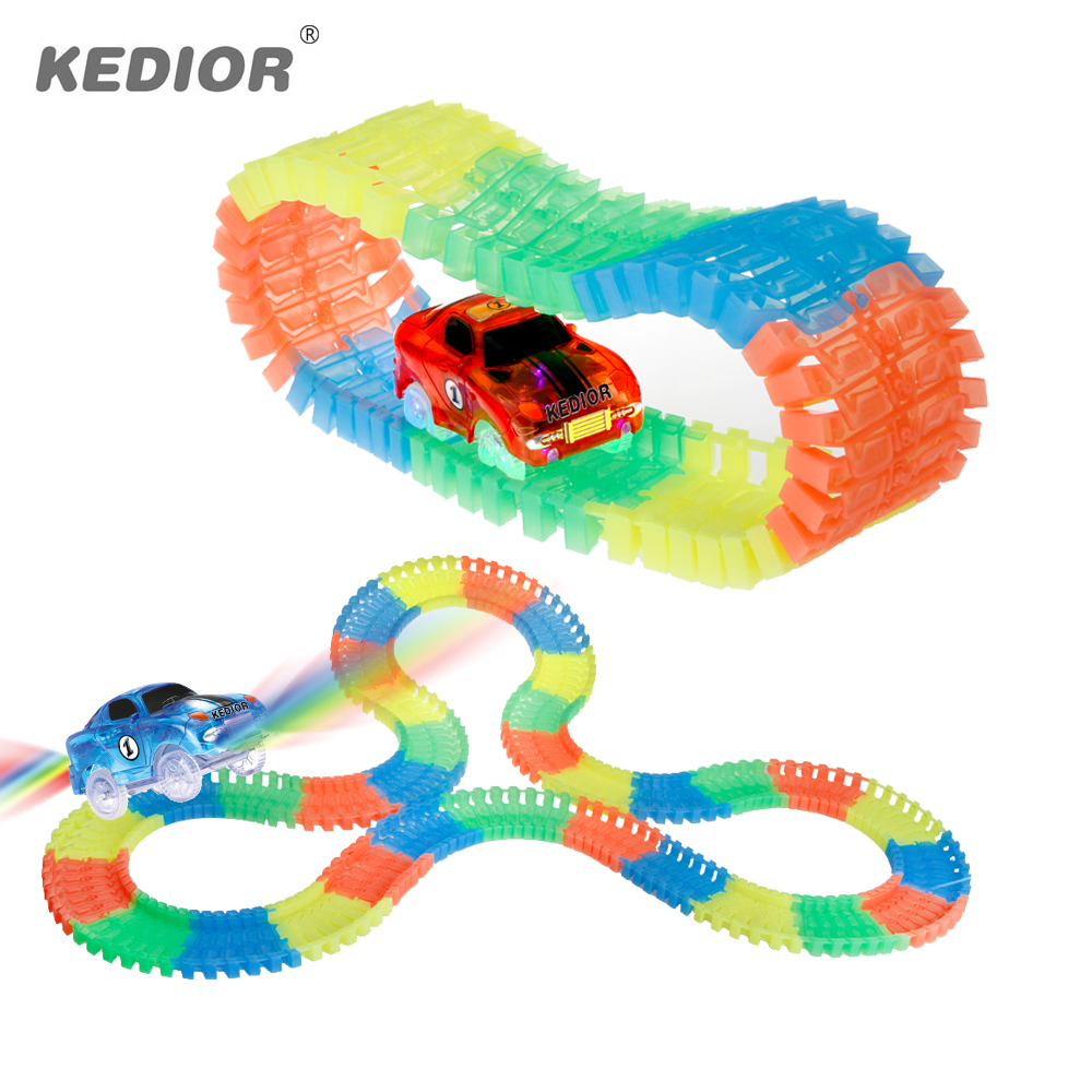 Railway Magic Glowing Flexible Track <font><b>Car</b></font> <font><b>Toys</b></font> for Children Racing Bend Rail Track Led <font><b>Electronic</b></font> Flash Light <font><b>Car</b></font> DIY Boys Gift image
