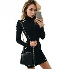 European style Women Fashion Sexy High Collar Bodycon Party Dress Long Sleeve Hip Package Pencil Dress Female