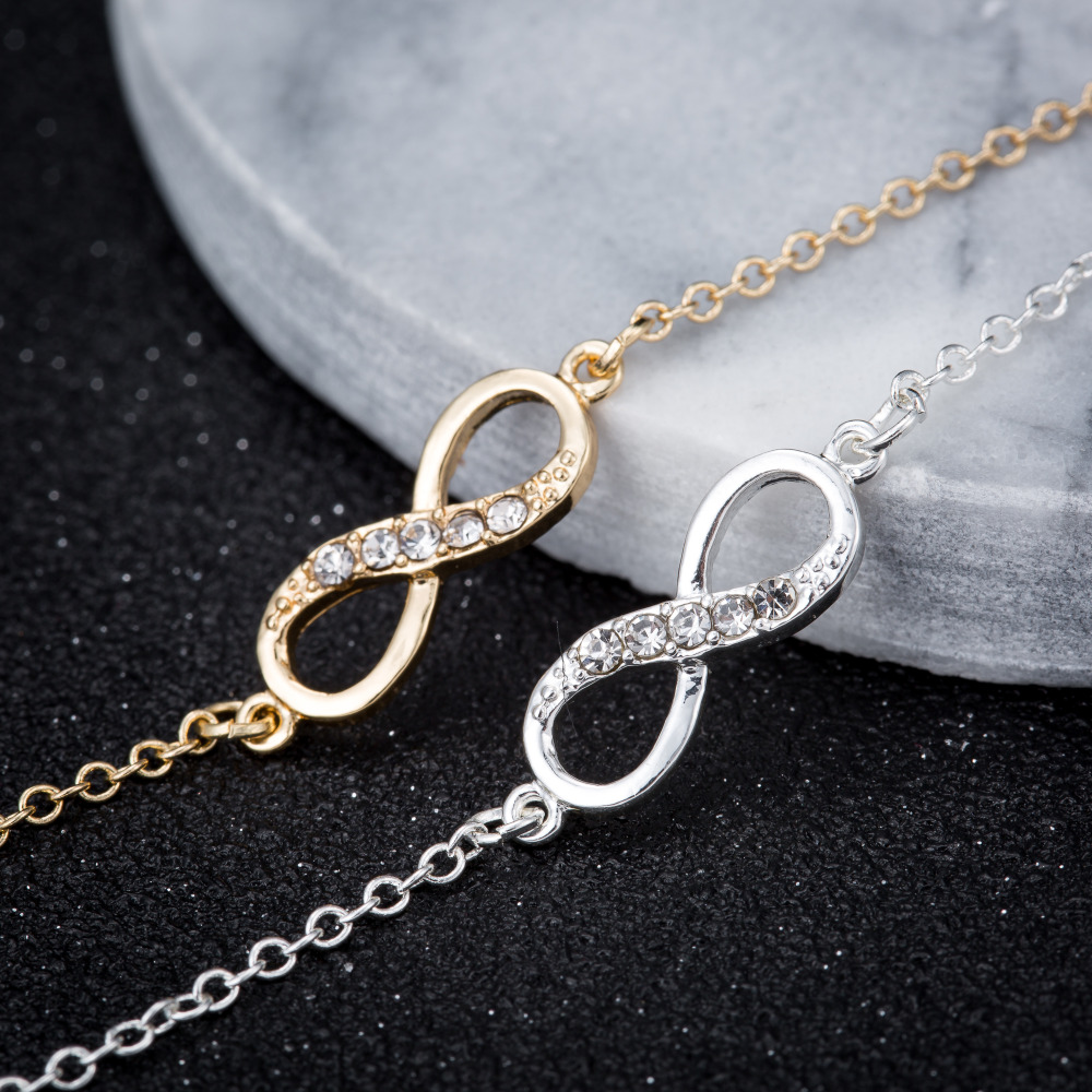 Shuangshuo 2017 New Fashion Infinity Bracelet for Women with Crystal Stones Bracelet Infinity Number 8 Chain Bracelets bileklik 6