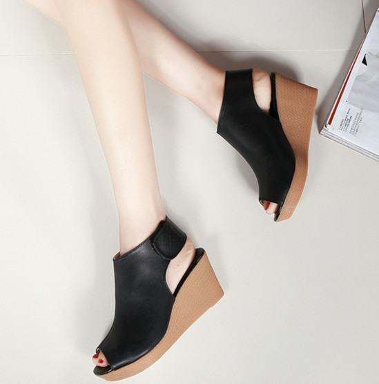 Новый 2017 натуральная кожа туфли на платформе женщина летом пальца ноги щели женщин сандалии мода твердые клинья женская обувь высота увеличение