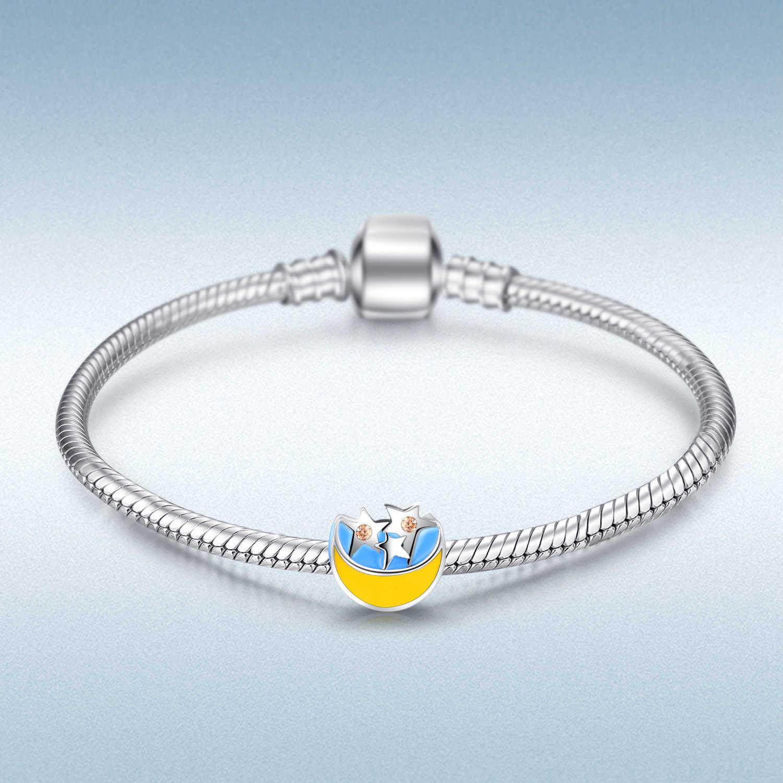 JewelryPalace Star Luna 925 Sterling Silver Beads Pendenti E Ciondoli Argento 925 Originale Per Il Braccialetto In Argento 925 originale Monili Che Fanno