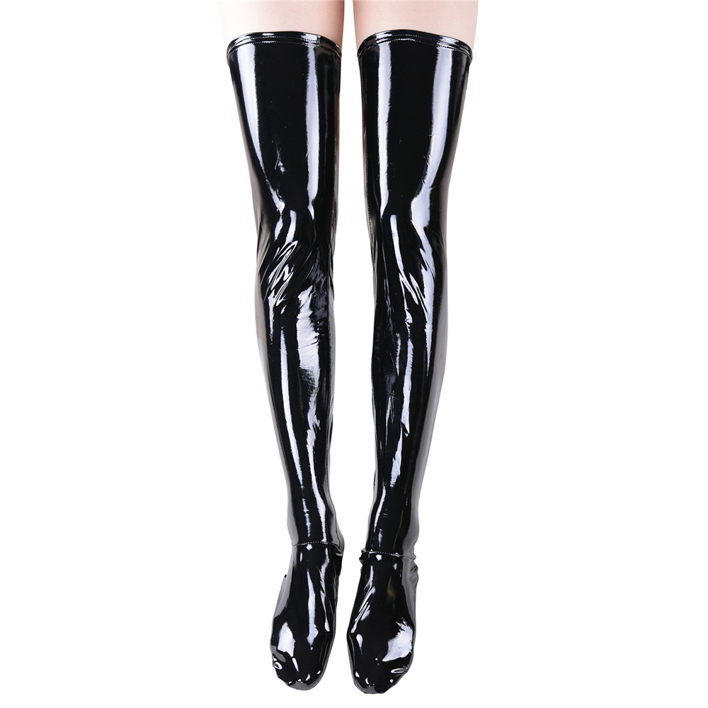 2ae5ae6cfd9 Wet Look Tight Stockings wet look thigh high stockigns women faux leather  stockings Faux Leather Thigh High Stockings thigh high wet look tights  women wet ...