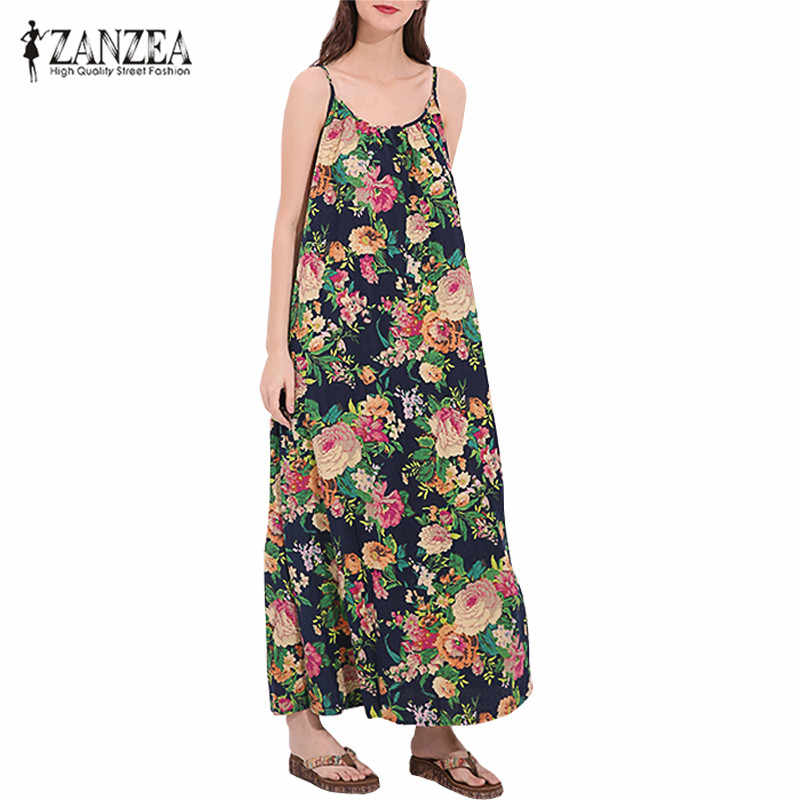 ZANZEA для женщин негабаритных цветочный хлопок и лен с принтом Сарафан женский Strappy Туника мешковатые длинное платье Кафтан Vestido