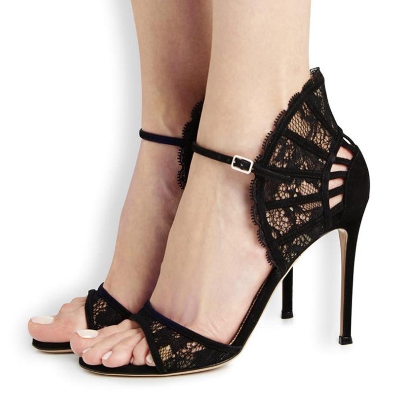 Роскошный дизайнерский бренд воздуха сетки сандалии мода кружева ультра высокий каблук сандалии мода пряжка ремень sandalias женщин повседневной обуви