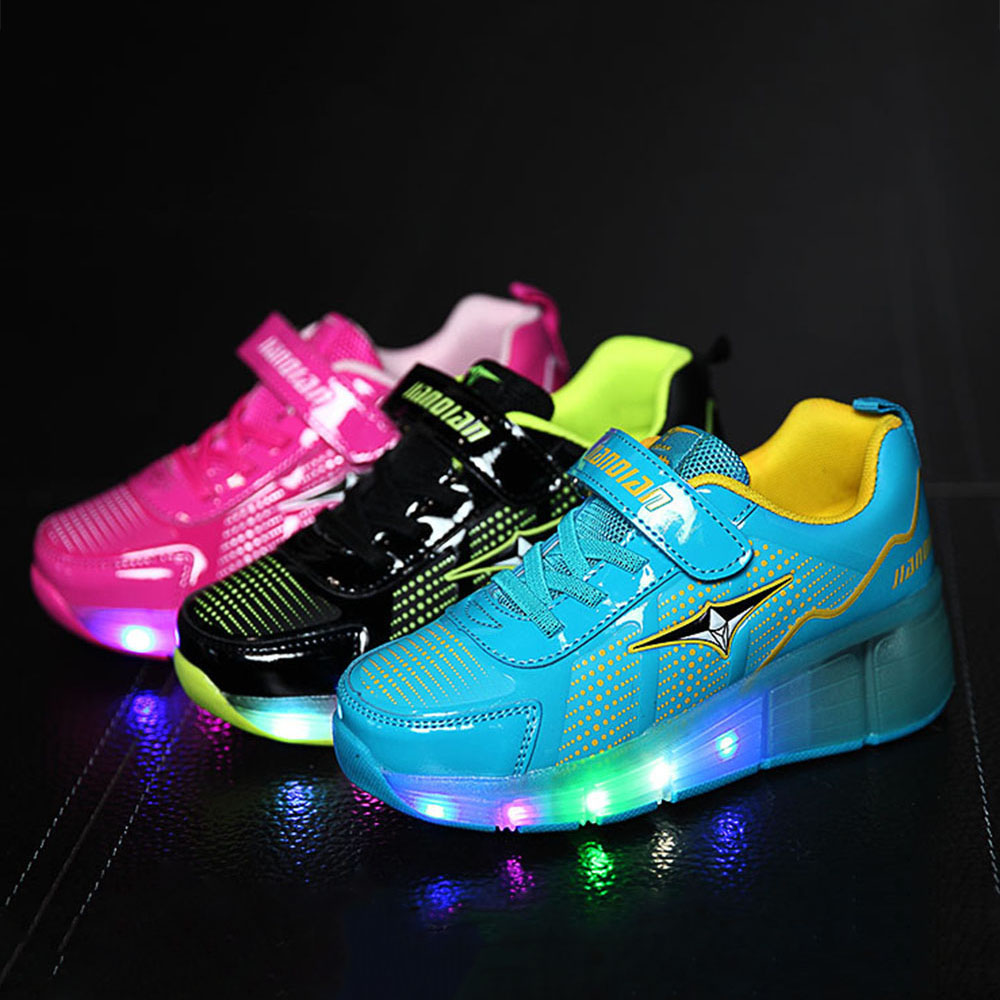 Roller skates light up - Aliexpress Com Buy 2016 Children Casual Roller Sneaker With One Wheel Led Lighted Flashing Kids Roller Skates Boy Girl Shoes Zapatillas Con Ruedas From