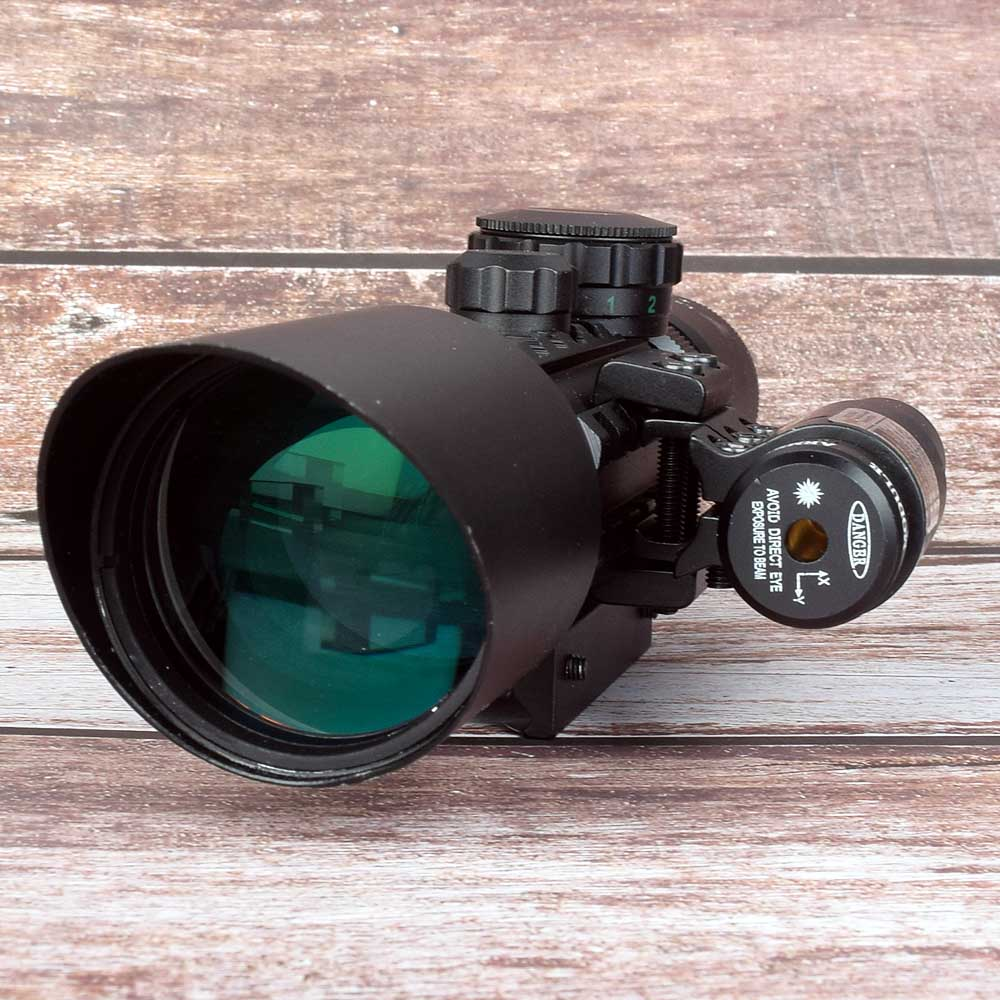 M9 3-10x42EG Tactical Optics Reflex Sight Riflescope Picatinny Weaver Mount Red Green Dot Hunting Scopes With Red Laser